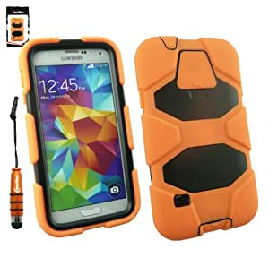 Emartbuy® Samsung Galaxy S5 Orange Antiurto Forte Custodia Case Cover con Costruito nel Proteggi Schermo + Metallico Mini Orange Stylus