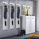 Lomado Komplett Garderoben Set ● 5-teilige Flurgarderobe Flurmöbel in Hochglanz weiß ● Schuhschrank, Spiegel, 3 Wandpaneele ● Made in Germany