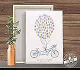 Weddingtree Tandem Fahrrad auf Papier oder Leinwand Fingerabdruck Gästebuch Hochzeit Fingerabdrücke PERSONALISIERBAR verschiedene Größen