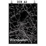 Mr. & Mrs. Panda Poster DIN A2 Stadt Wiesbaden Stadt Black