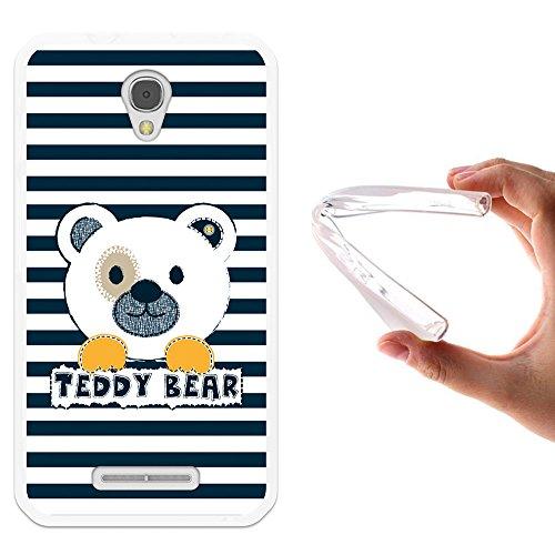 WoowCase Alcatel OneTouch Pixi First Hülle, Handyhülle Silikon für [ Alcatel OneTouch Pixi First ] Gestreifter Teddybär Handytasche Handy Cover Case Schutzhülle Flexible TPU - Transparent