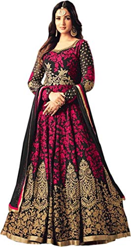 1bbc4b6d7300 Florence Women\'s Pink Poly Silk Embroidered Anarkali Style Salwar  Suit(SL067,