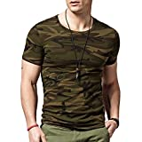 Lion Men's Camouflage Cotton T-Shirt Green_XL-Large