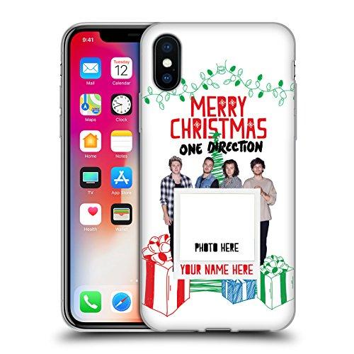 Personalizzata Personale One Direction 1D Solo Testo Personalizzato Natale Cover Morbida In Gel Per Apple iPhone X Buon Natale