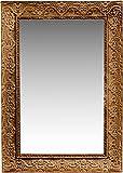 Naturtempel Wandspiegel Holz 37 x 26cm | Barockspiegel Weiß | handgefertigter Vintage-Antik-Rahmen | Flurspiegel Raumdekoration (Braun)