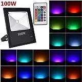 Viugreum 100W Faretto LED RGB Esterno e Insterno, Proiettore LED IP66 Impermeabile, 4 Modalitš€ 16 Colori con Telecomando, Funzione di Memeria, Faro per Decorazione di Natale, Halloween, Giardino