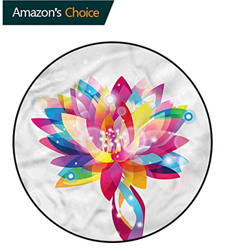 Blumen-teppich-designs (RUGSMAT Lotus Traditioneller runder Teppich Design, rosa getönte Blumen Ornament Schaumstoffmatte Schlafzimmer Dekor Schlafzimmer Schlafzimmer, Polyester-Mischgewebe, Style-04, Diameter-47)
