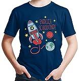HARIZ  Jungen T-Shirt Endlich Schulkind 2018 Rakete Einschulung Schulanfänger Geschenk Gratis Geschenkkarten Navy Blau 128/7-8 Jahre