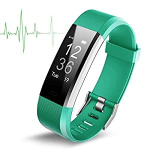 Smart Watch Wasserdicht IP67 Activity Tracker mit Herzfrequenz Monitor – Fitness Tracker 2,4 cm OLED-Bildschirm Bluetooth 4.0 Schrittzähler Smartwatch Wireless USB Ladekabel Armband