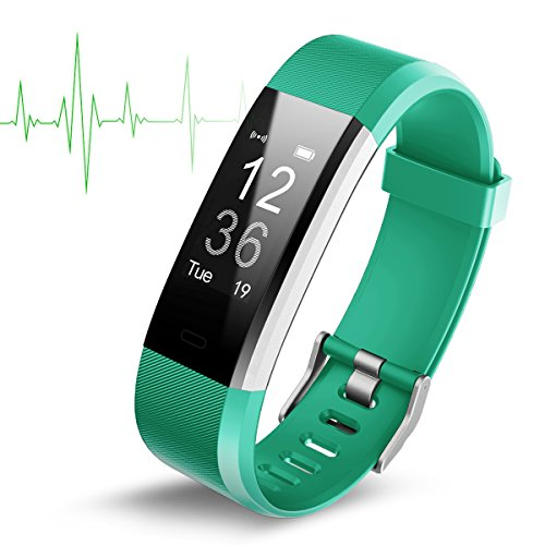 Smart watch impermeabile ip67 activity tracker con cardiofrequenzimetro – fitness tracker 2,4 cm oled bluetooth 4.0 pedometro smartwatch wireless usb di ricarica wristband, uomo, green