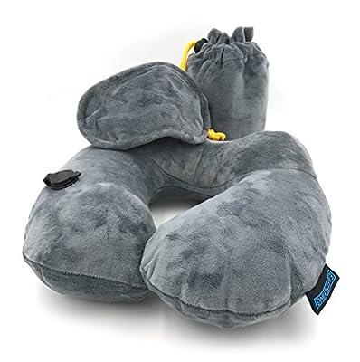 Easyflying Nackenkissen, angenehm weiches Reisekissen, aufblasbar per Hand, perfektes Nackenhörnchen für Ihre Reise. Inkl. Aufbewahrungsbeutel und einer weichen Schlafmaske. Bezug Waschbar