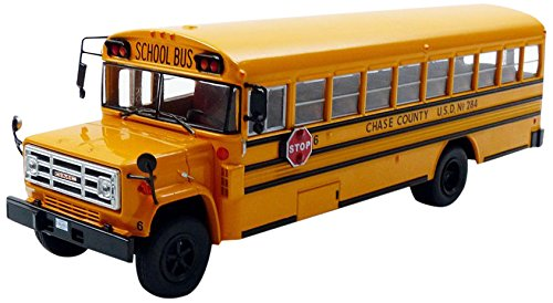IXO–bus004–Fahrzeug Miniatur–GMC 6000Schoolbus–1990–Maßstab 1/43, gelb/schwarz (Gmc Spielzeug Auto)