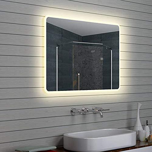 Espejo Inteligente Pantalla táctil Led baño Espejo Colgante de Pared Baño Baño Aseo Luz antiniebla Bluetooth Maquillaje 100 * 70 cm Espejos de Aumento de paredH0530