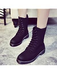 &ZHOU Botas otoño y del invierno botas cortas mujeres adultas 'cargadores de Martin Knight botas a22 , black , 36