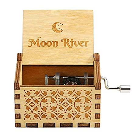 Prosperveil Wooden Music Box Hand Crank Musical Box Mechanism Engraved Wooden Music Box Gift for Adult Kids Home Decoration Craft