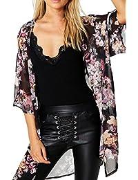 Sannysis Cardigan Blusa de talla más, negro flor, gasa (L)