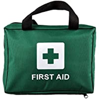 100 Piece Premium First Aid Kit Bag - Includes Eyewash, 2 x Cold (Ice) Packs and Emergency Blanket for Home, Office, Car, Caravan, Workplace, Travel. Free Survival E-Book (Green)