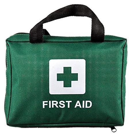 Verbandkasten - 100 Stück Premium First Aid Kit Tasche - Inklusive Eyewash, 2 x Cold (Ice) Packs und Notfall Decke für Haus, Büro, Auto, Caravan, Workplace, Trave, Bergsteigen, Camping l (Grün). Mit kostenlosen Notfall Erste Hilfe E-Book