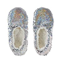 Lora Dora Girls Glitter Sequin Slipper Socks Kids Fleece Lined House Shoes Xmas Gift Size