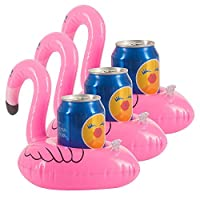 Vpsan 3pcs Red Flamingo Float Inflatable Drinks Can Holder Swimming Pool Beach Party