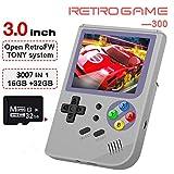 Anbernic Consoles de Jeux Portables , RG300 Console de Jeux Retro OpenDingux Tony System , Free with 32G TF Card Built-in 3007 Classique Jeux , 3 Pouces HD écran Console de Jeux vidéo Portable - Gris