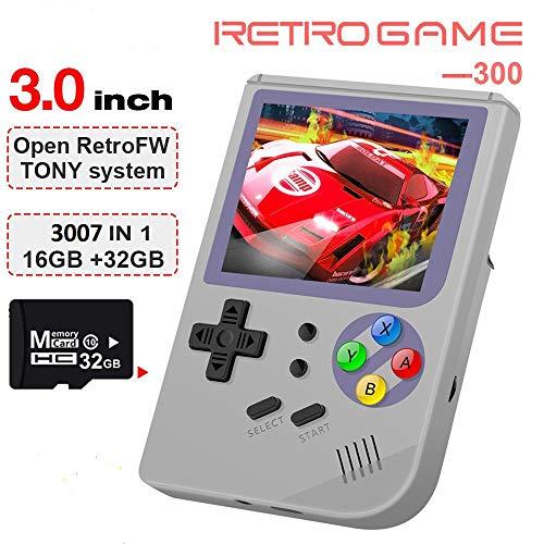 Anbernic Console di Giochi Portatile , RG300 Console di Giochi Retro OpenDingux Tony System , Free with 32G TF Card Built-in 3007 Classic Giochi - Grigio
