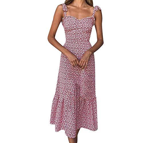 PinkLu Kleiden Damen ÄRmellose Schlinge Kleiner Blumendruck Taillenkleid Slim Fit Urlaub Am Meer Einfach Und Bequem Mode Wild Sommer Neuer HeißEr Rotes Kleid -