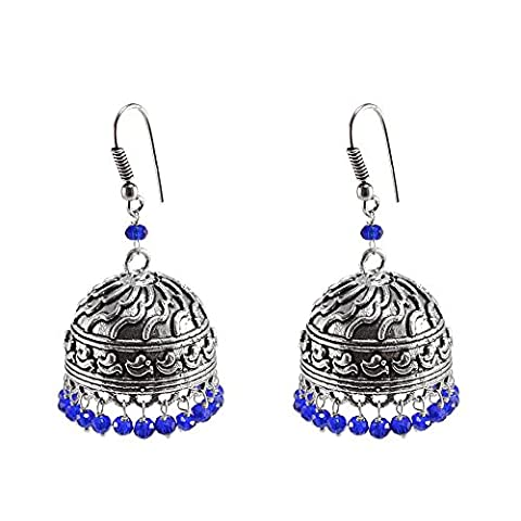 Bollywood Belly Dance Women Party Wear Jhumki Chandelier Earring With Smal Blue Crystals PG-101254