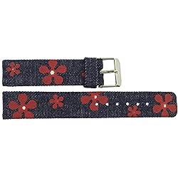 Watch Strap in Jeans Jeans - 18mm - - buckle in Silver stainless steel - B18JeaItr54S