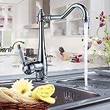 Auralum Elegant 360° Drehbar Mischbatterie Wasserhahn Waschbeckenarmatur Amatur mit Weiß Griff Spültischarmatur für Küche Spüle Waschtisch Waschbecken