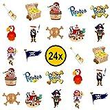 Piraten Kinder Tattoos / für Jungen und Mädchen / Mitgebsel / Kindergeburtstag / Piraten Party / Kinder Tattoo Set von PartyPack (24)