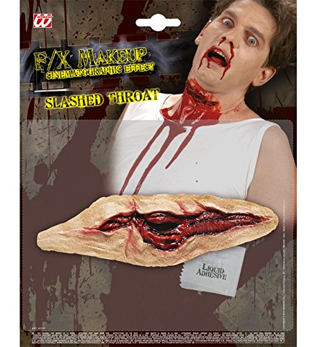 Widmann * 1 große blutige Wunde zum Aufkleben * inkl. Kleber für die perfekte Grusel Halloween Party // Party Deko Gesicht Arm Hals Wunde Blut Kratzer Kehle