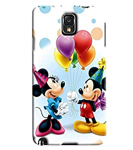 Blue Throat Micky And Mini Mouse Celebrating Printed Designer Back Cover For Samsung Galaxy Note 3