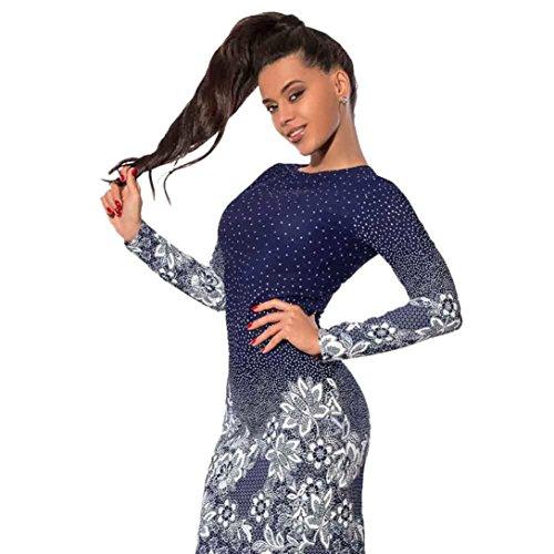Damen Kleid Elegant Btruely Sommerkleid Langarm Minikleid Floral Abendkleid O-Ausschnitt Strandkleid...