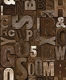 Ugepa Muriva Papier peint vinyle en relief Motif typographie rétro marron
