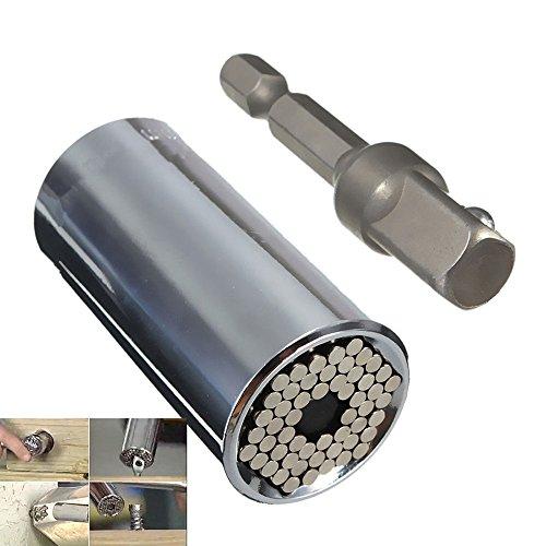 Carejoy universel adaptateur de prise Gator Grip avec adaptateur perceuse Outil Argent 7-19 mm (2 pièces)