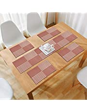 HOKIPO® PVC Vinyl Washable Table Mats for Dining Table