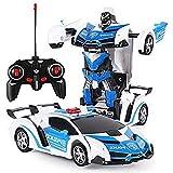 Deformations-Roboter Fernbedienung Auto-Kind-Geste Spielzeug 1.18 Simulation Polizeiauto Modell mit Led Boy Fernsteuerungsauto-