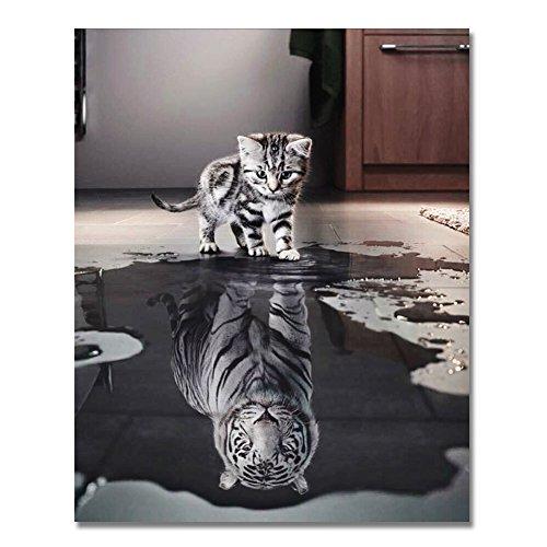 Rihe Holzrahmen, Malen nach Zahlen DIY Ölgemälde Katze oder Tiger für Erwachsene anfänger...