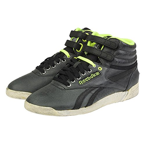 Reebok F/S HI mixte adulte, cuir lisse, sneaker high Black/Yellow/Sandtrap/Slv