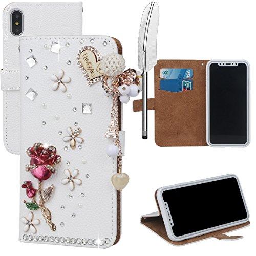 xhorizon MLK Boutique à la main Bling Glitter Housse de portefeuille Elégante et Rose Boîtier de protection en plein corps pour iPhone X / iPhone 10 (2017) avec un stylet DIY64 Rose Rouge