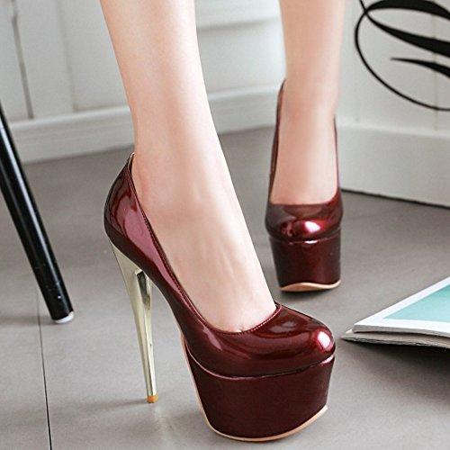 TAOFFEN Femmes Chaussures Mode Aiguille Plateforme Talon Haut Escarpins Soiree Bourgogne