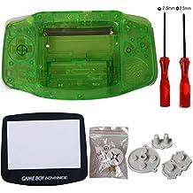 eJiasu Remplacement complet des pièces de rechange Shell Réparer la couverture de la pièce pour Nintendo Gameboy Advance GBA (1PC GBA Shell Vert transparent avec lentille et tournevis)