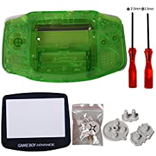 eJiasu Reemplazo de piezas de repuesto Shell reparación de piezas de la cubierta del caso para Nintendo Gameboy Advance GBA (1PC GBA Shell transparente verde con lente y destornillador)