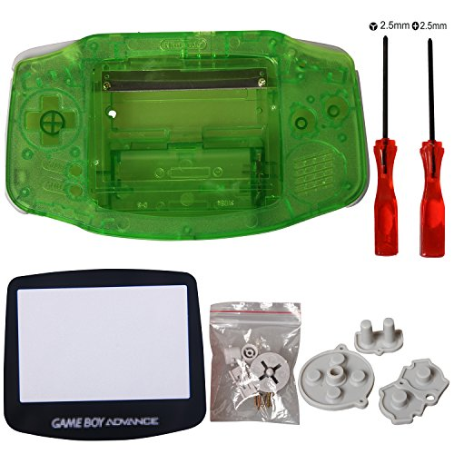 GBA Shell, eJiasu pièces de rechange logement de logement Shell accessoires écran protecteur d'objectif partie de réparation couverture pour Nintendo Gameboy Advance GBA (1PC GBA Shell Vert transparent avec lentille et tournevis)