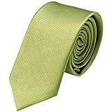 GASSANI Krawatte 6cm Breite Schmal | Olivgrüne Rips Herrenkrawatte zum Sakko | Slim Schlips Binder einfarbig Oliv-Grün mit feinen Streifen