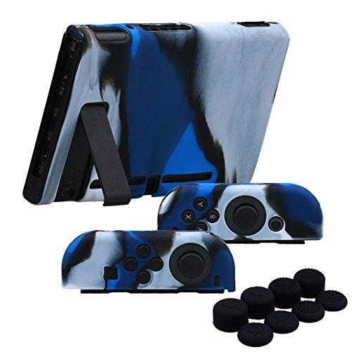 YoRHa Handgriff Silikon Hülle Abdeckungs Haut Kasten für Nintendo Switch/NS/NX Joy-Con controller und Tablette x 3 (Camouflage blau) Mit Joy-Con aufsätze thumb grips x - Silikon-tabletten-kasten