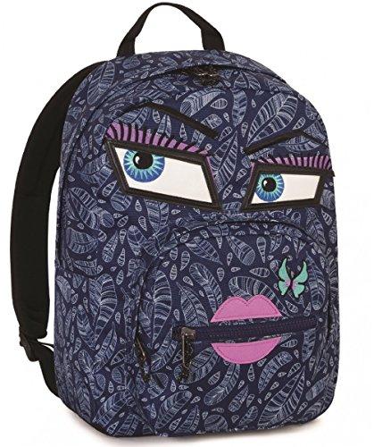 ZAINO INVICTA - OLLIE PACK FACE YAP - Blu Fantasy - tasca porta pc padded - scuola e tempo libero americano 25 LT