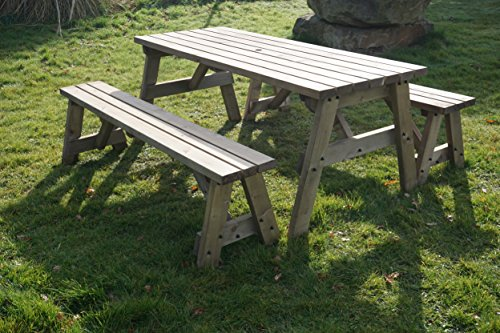 VICTORIA WOODEN PICNIC TABLE BENCH SEAT SET WITH BENCHES SLIDING UNDER THE TABLE - 3FT to 8FT - RUSTIC BROWN - HEAVY DUTY - GARDEN FURNITURE HAND MADE IN THE UK - PRESSURE TREATED (4FT)