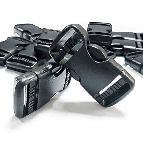 REKYO 24PCS 1 Plastic Inch Quick Release Side Buckle, Black Backpack Closure Buckles for Paracord / Bag / 1 Belt Webbing Belt Inch 25mm